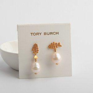 Tory Burch Asymmetric Fishbone Pearl Stud Earrings